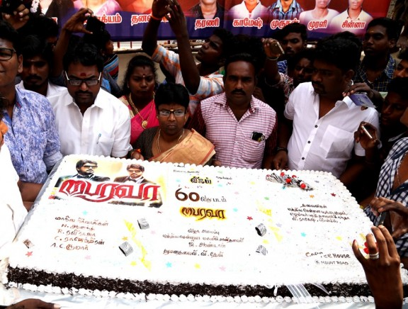 Fans celebrate Bairavaa release with 25kg cake at Albert Theatre