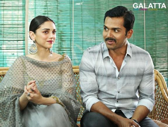 Karthi and Aditi Rao Hydari during a special interview for Kaatru Veliyidai