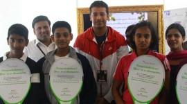 Mahesh Bhupathi handing over Tennis Coaching Scholarships to Kids