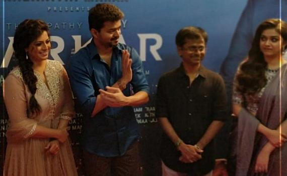 Varalaxmi Sarathkumar, Thalapathy Vijay, A R Murugadoss and Keerthy Suresh at Sarkar audio launch