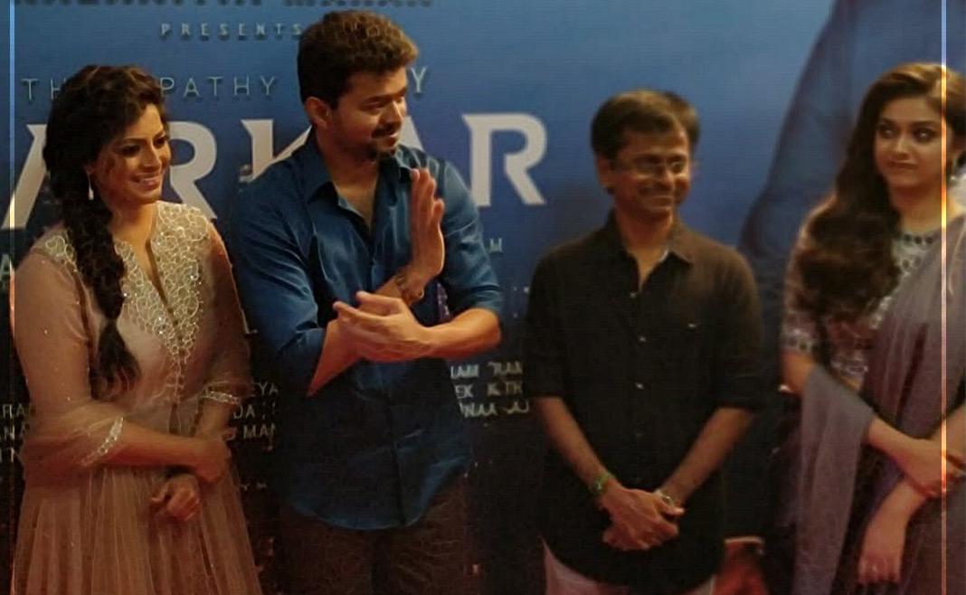 Varalaxmi Sarathkumar, Thalapathy Vijay, A R Murugadoss and Keerthy Suresh at Sarkar audio launch