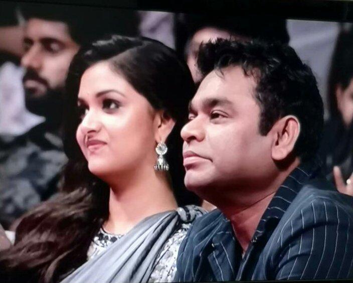 Keerthy Suresh and A R Rahman at Sarkar audio launch