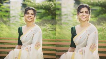 Madonna ready for Onam in this chetthi pattern Kerala saree