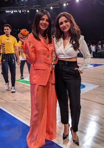Parineeti Chopra was spotted at the NBA games in this monochrome ensemble from the House Of CB