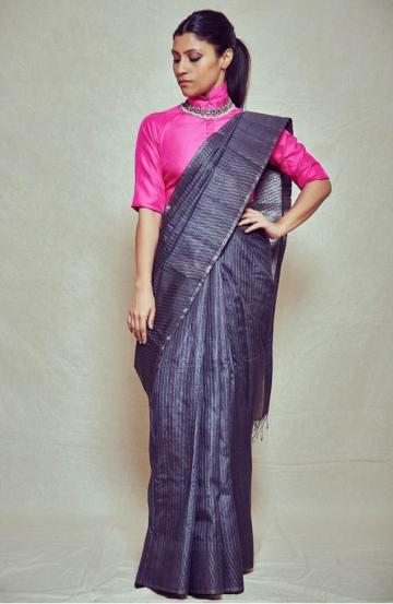 The grey saree from Rishta by designer Arjun Saluja is set off by that collar blouse in candy pink - Fashion Models