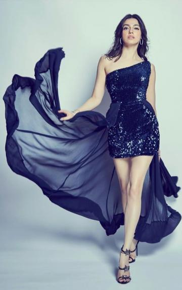 We love the sheer train on the sequined short dress - Fashion Models