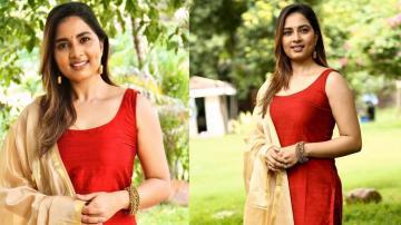 Srushti Dange looking good in everyday churidar