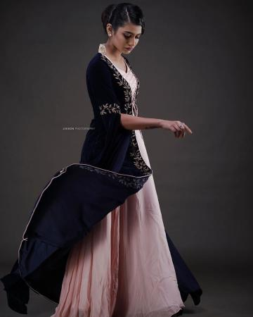 The Outfit from Mloft has a purple velvet cape with leaf embroidery and the pink collared dress inside has a pretty lace tie front - Fashion Models