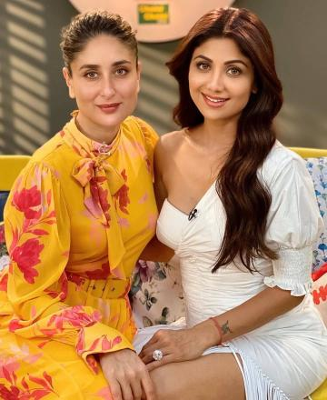 Shilpa Shetty went to the Do the Ishq radio show with Kareena  Kapoor Khan, wearing this white one-shoulder outfit and green heels from Public Desire - Fashion Models