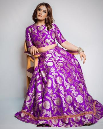 The Matr actor was wearing this purple lehenga with gold floral motifs from Raw Mango and we're bemused because of the overload of colour and motifs - Fashion Models