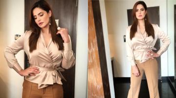 Zareen Khan's tie top is rather cool