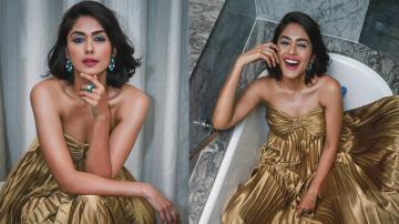 Pretty Mrunal Thakur looking golden in this gown