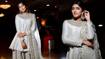 We're loving the neckline of Eesha Rebba's silver outfit