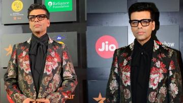 Karan Johar's patterned coat is a lot of fun!