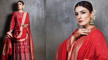 Raveena Tandon ready in red for Karva Chaud