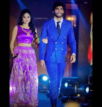 Bigg Boss season 3 title winner Tharshan Thiyagarajah attended the Galatta Nakshatra awards wearing this pinstriped suit designed by Prince Phinehas - Fashion Models