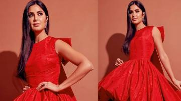 Katrina Kaif having fun in a red high-low gown