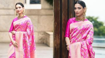 Tamannaah Bhatia's vivid pink saree screams 'Indian festive'!