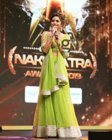 Aishwarya Dutta arrived at the Galatta Nakshatra Awards in this bright green lehenga from Zol studios  - Fashion Models