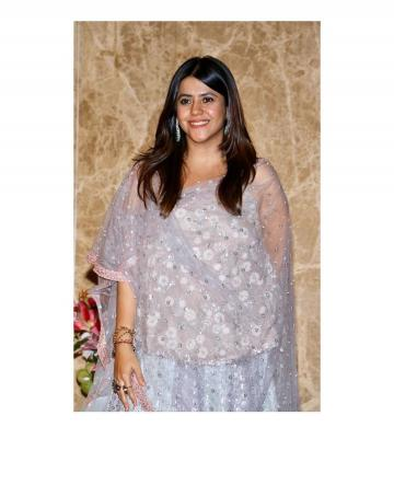 K-serial queen Ekta Kapoor arrived at the Diwali Bash by producer Ramesh Taurani in this beautiful silver lehenga from Simply Simone  - Fashion Models