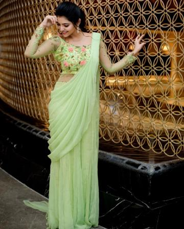 The outfit from Swadh has heavy embroidery on the bust and a becoming saree-like draping  - Fashion Models
