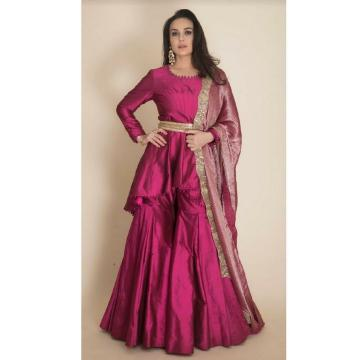 The Manish Malhotra flavour of charm is visible in this outfit - a rich pink accentuated by gold waist belt and a refreshing burnt pink colour shawl - Fashion Models