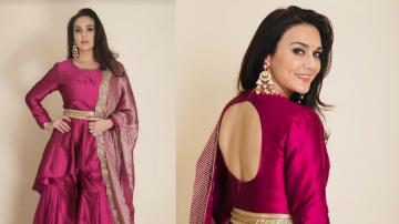 Preity Zinta's grand pink outfit is great for Diwali