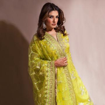 Raveena Tandon is in Pune for Diwali and was spotted in this lime green embroidered salwar set from Gopi Vaid - Fashion Models