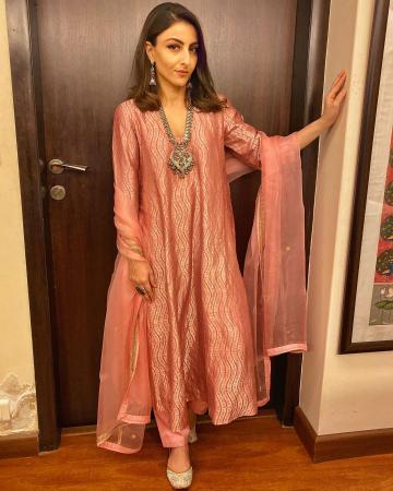 The burnt pink outfit has silver embroidery and a beautiful sheer shawl - Fashion Models