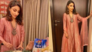 Soha Ali Khan's ethnic outfit is great festive wear