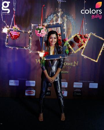 Rashmika Mandanna arrived at the venue of Galatta Wonder Women Awards in this shiny, splendid pantsuit from Rini Couture - Fashion Models