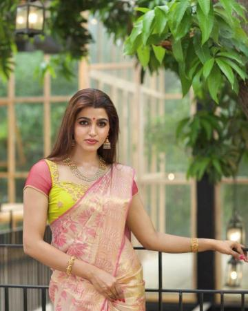 Sai Dhanshika was spotted decked up for Diwali in this intricate floral saree from Swaadh - Fashion Models