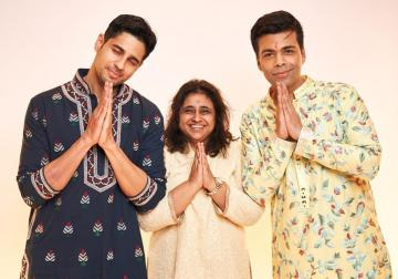 Karan Johar attended the Lakshmi pooja at his production house in this beautiful pastel kurta from Manish Malhotra - Fashion Models