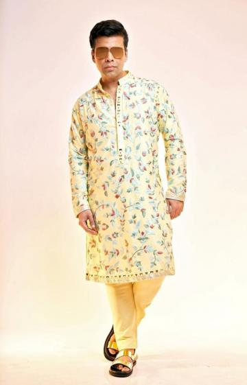 The pastel kurta has beautiful brushwork and is paired with a fitting pajama - Fashion Models