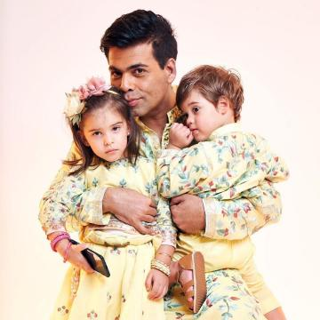 What really had us is that Karan Johar's babies Roohi and Yash Johar were twinning with him - Fashion Models