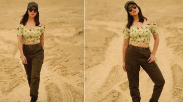 Sunny Leone is ready for a dirt-road trek in this casual ensemble