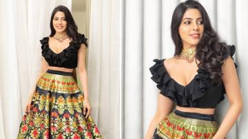 Nikki Tamboli looking lovely in this lehenga ensemble