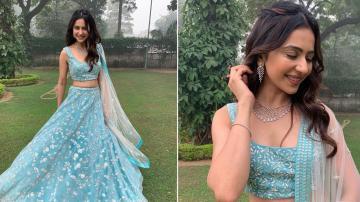 Rakul Preet Singh looks pretty in this blue embroidered lehenga
