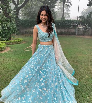 Rakul Preet was spotted in this blue lehenga from Mishru, which won us over by its simple charm - Fashion Models