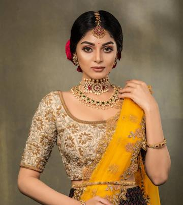 Sanam Shetty was recently spotted in this brown-beige-yellow lehenga ensemble from Studio 149 - Fashion Models