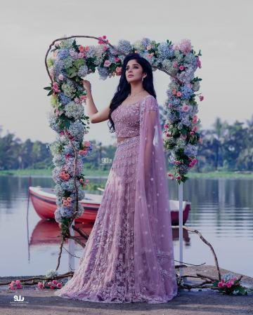 Nyla Usha, who has become a sensation since the movie Porinju Mariam Jose, was recently seen in this lavender lehenga from Lable M - Fashion Models
