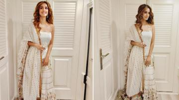 Disha Patani in white-and-gold ensemble at Radhe movie launch pooja