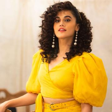 Taapsee Pannu was recently spotted with a cute bunch of curls in this bright yellow ensemble from Ohaila Khan - Fashion Models