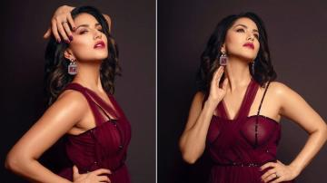 Sunny Leone's maroon gown is smokin' hot!
