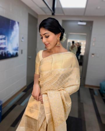 Seraphic Anu Emmanuel was recently spotted in this elegant dull gold saree from Sashi Vangapalli Couture  - Fashion Models