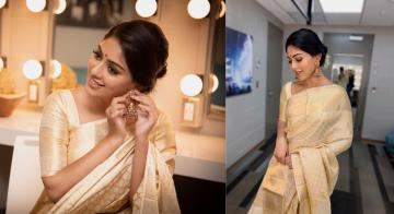 Pretty Anu Emmanuel in an elegant saree