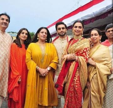 Deepika and Ranveer and their families arrived at the Tirupathi temple on November 14 to offer poojas on their wedding anniversary - Fashion Models