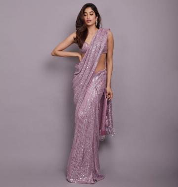The lavender sequined saree is a glittery, starry number that needs no add-ons - Fashion Models