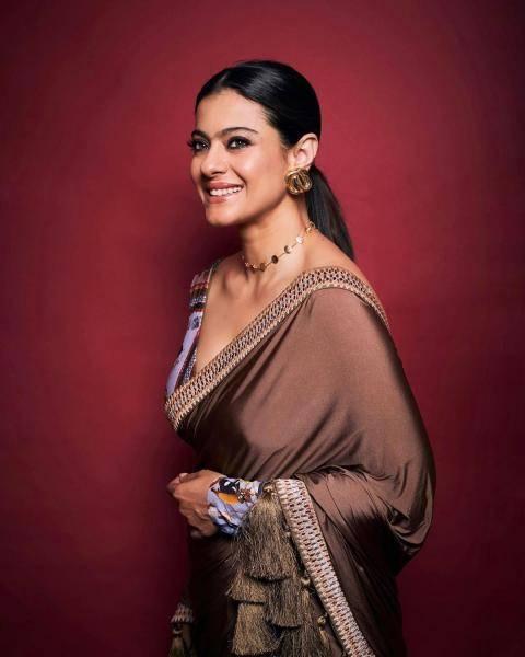 Kajol was seen promoting the movie Tanhaji in this interesting coco coloured saree from Shivan & Narresh - Fashion Models
