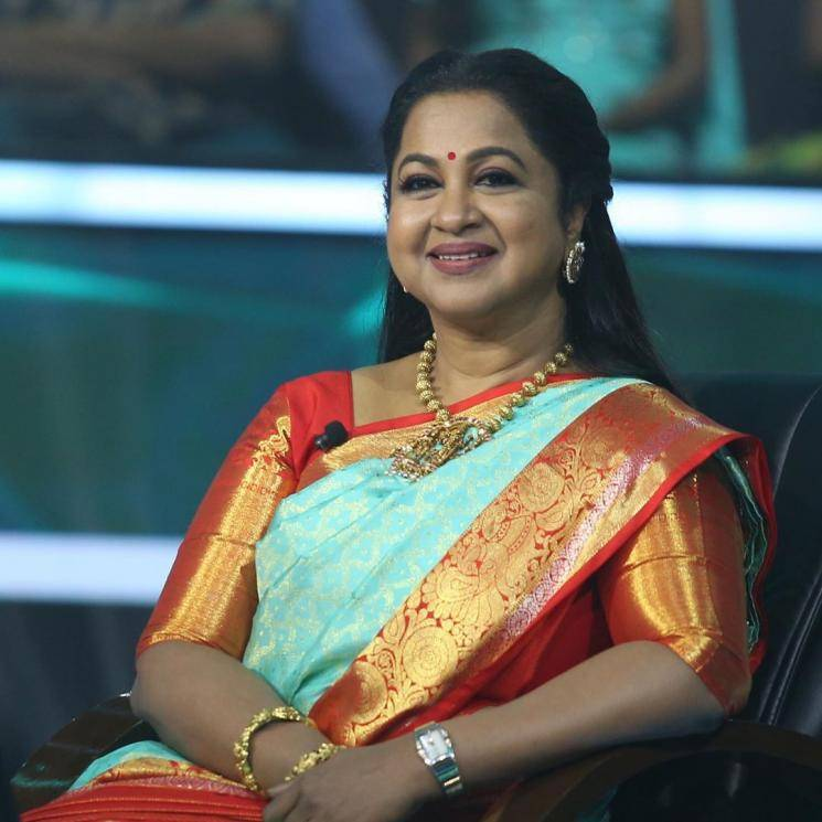 Radhika Sarathkumar recently appeared in an episode of the new quiz show Kodeeshwari wearing this sky blue silk saree from Pothys - Fashion Models